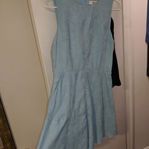 Blue suede dress with pockets